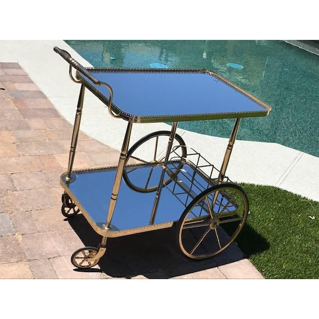 Mid Century French Hollywood Regency Brass Bar Cart W/ Mirrored Trays For Sale - Image 12 of 12