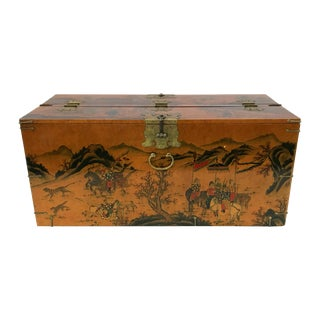 Vintage Asian Pictorial Lacquered and Paper-Lined Chest / Trunk For Sale