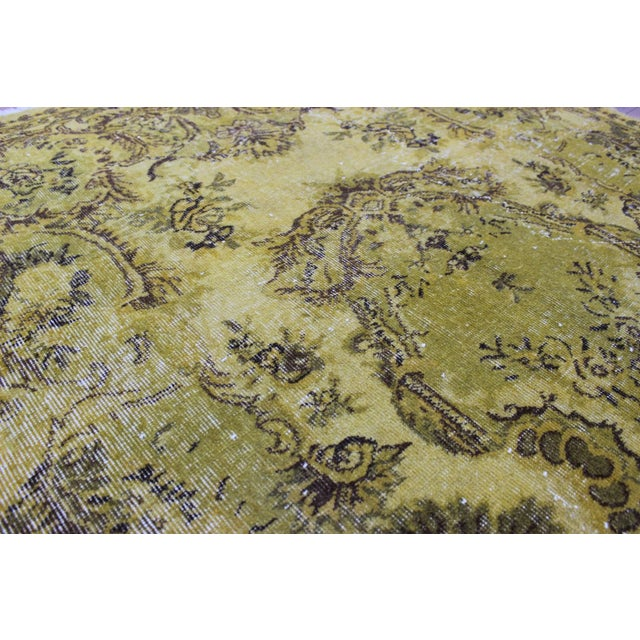 """Vintage Hand Woven Yellow OverDyed Rug - 5'7"""" x 9' For Sale - Image 5 of 7"""