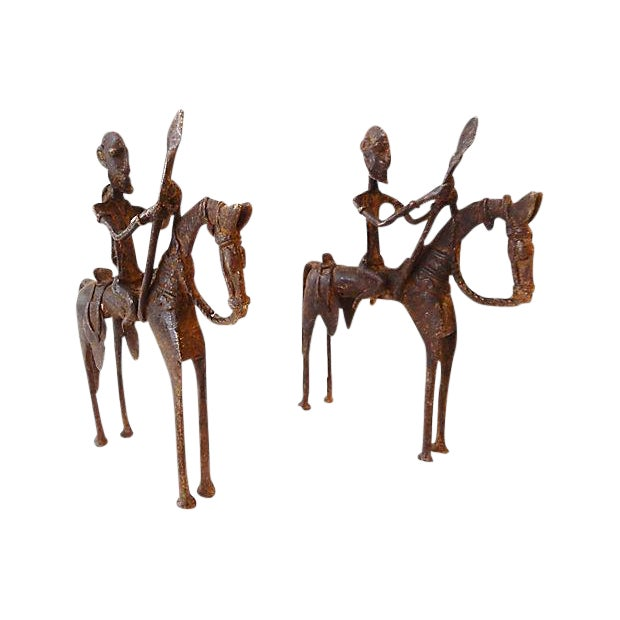 African Dogon Bronze Horseman Mali - Pair For Sale
