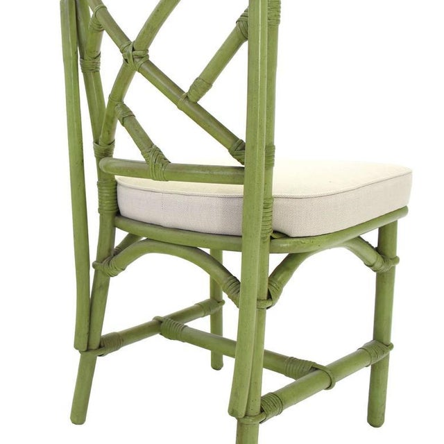 Green Square Game Table and Four Chairs Green Faux Bamboo Rattan For Sale - Image 8 of 11