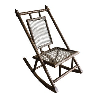 1980s Vintage Mexican Craftsman Wooden Rocker For Sale
