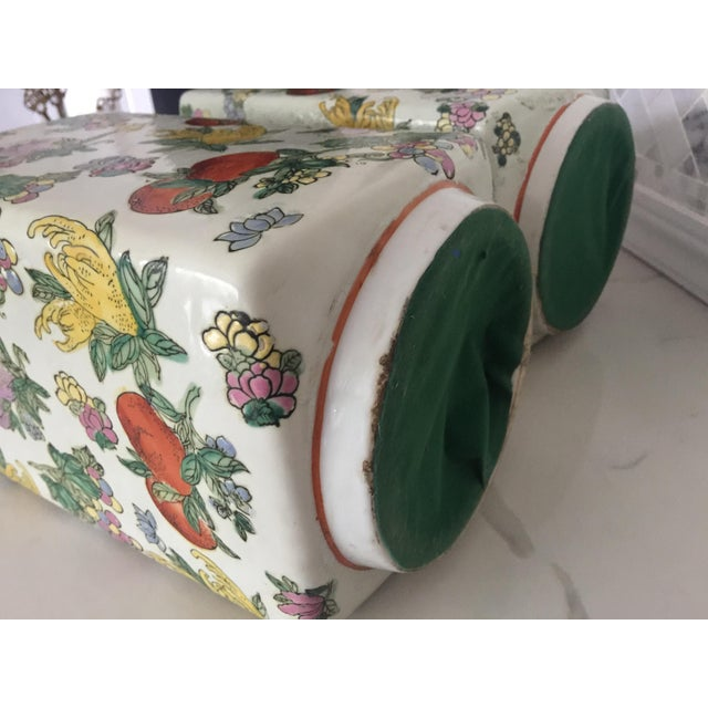 1970's Oriental Exotic Fruit Painted Vases - a Pair For Sale - Image 11 of 13