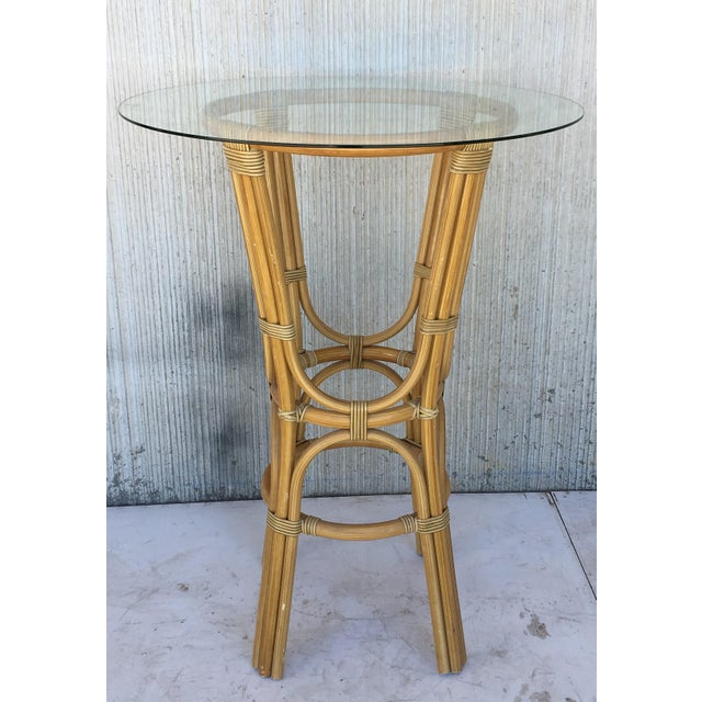 1950s 20th Century Set of Four High Round Cocktail Table in Faux Bamboo With Glass Top For Sale - Image 5 of 11