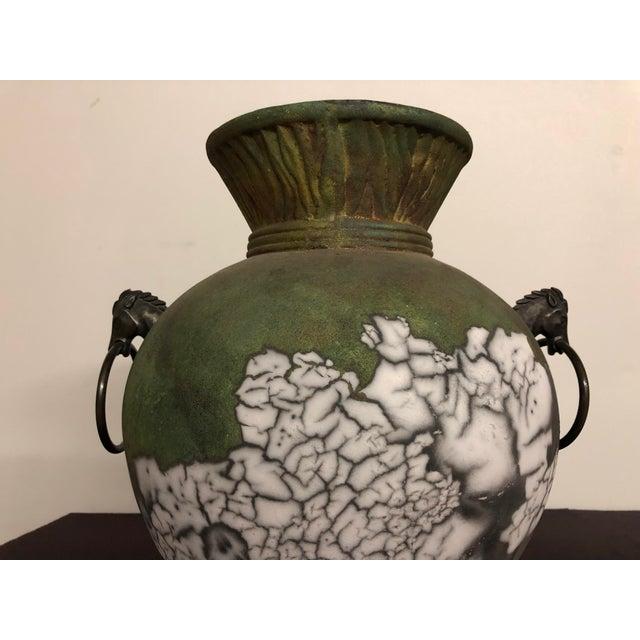 Tony Evans Raku Large Vase With Metal Horse Handles For Sale In Seattle - Image 6 of 13