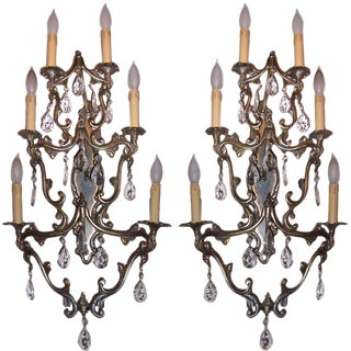 1960s Hollywood Regency Brass and Crystal Sconces - a Pair For Sale
