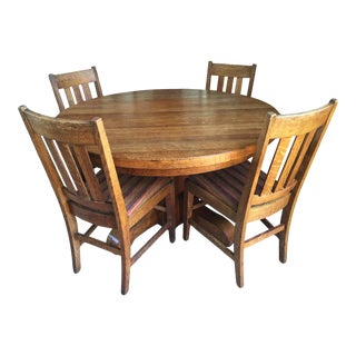 Antique Oak Craftsman Mission Arts and Crafts Style Round Dining Set - 5 Pieces For Sale