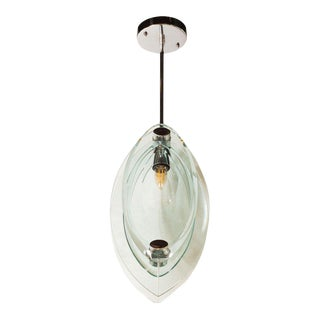 Mid-Century Modern Pendant With Chrome Fittings in the Manner of Fontana Arte For Sale