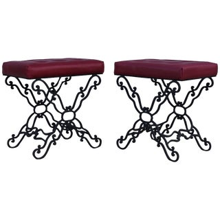 1960s Iron and Leather Ottomans For Sale