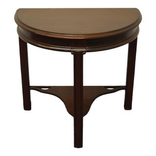 Vintage Antique Traditional Solid Mahogany Demi-Lune Table For Sale