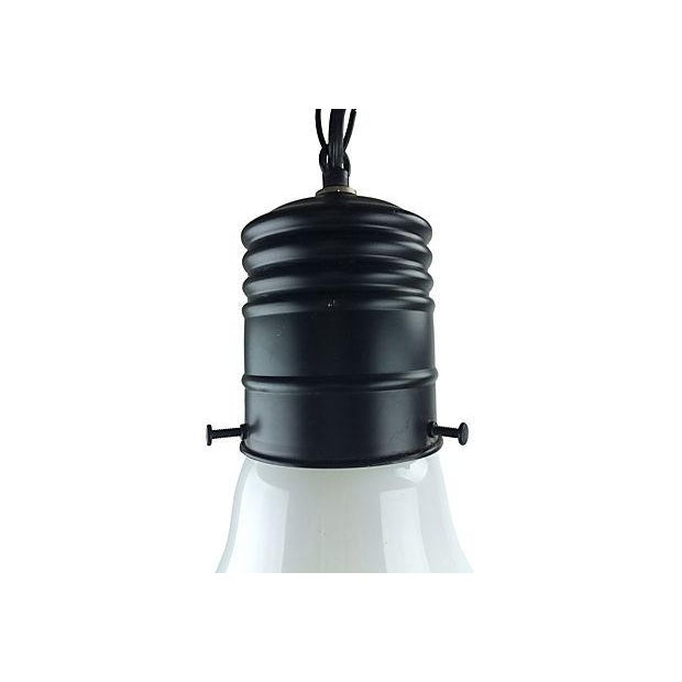 1970s Pop Art style giant lightbulb hanging pendant in milk glass and black matte metal. Design is in the style of Ingo...