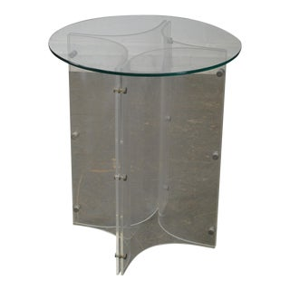 Mid Century Modern Lucite Base Round Glass Top Table For Sale