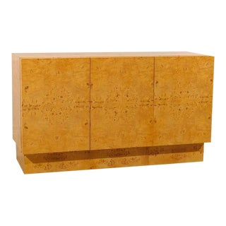 Exceptional Milo Baughman Style Buffet, Credenza in Book Matched Olive Wood For Sale