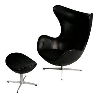 Arne Jacobsen Leather Egg Chair & Footstool for Fritz Hansen, Double Signed 1965
