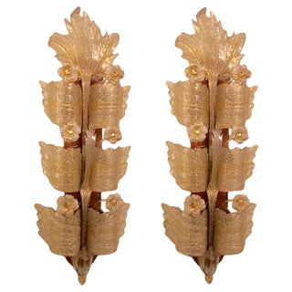 Pair of Palatial Opposing Barovier & Toso Grand Hotel Murano Glass Wall Sconces For Sale