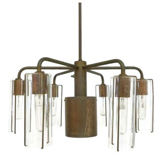 1970s Bronze and Glass Chandelier by Stuart Barnes for Robert Long, Inc. For Sale