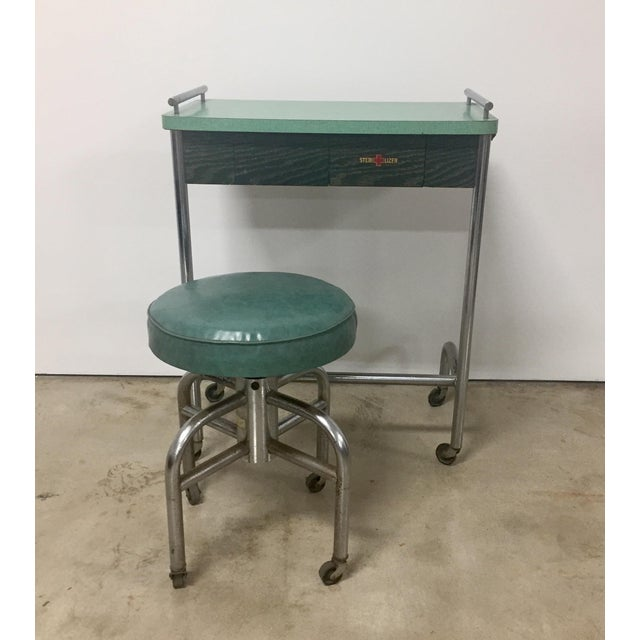 Industrial 1940s Industrial Tubular Steel Rolling Stool and Cantilevered Table For Sale - Image 3 of 7