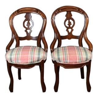 Pair Vintage Victorian Rococo Revival Pink & Blue Balloon Back Chairs French For Sale