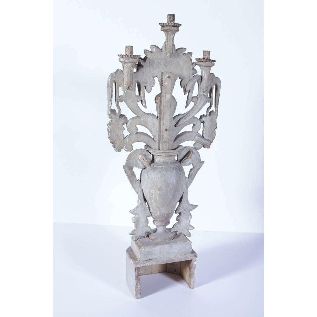 Gold Leaf 18th Century Italian Carved Painted & Gilt Three-Arm Candelabra For Sale - Image 7 of 10