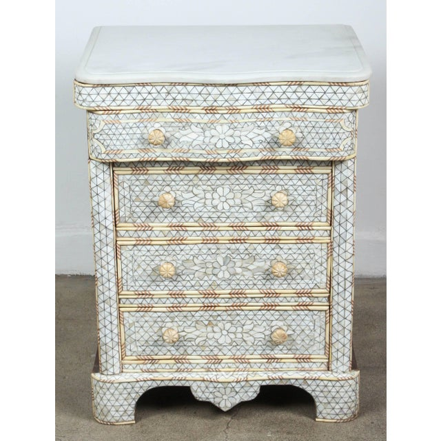 Mid 20th Century Pair of Mother-Of-Pearl Inlay Syrian Nightstands For Sale - Image 5 of 11