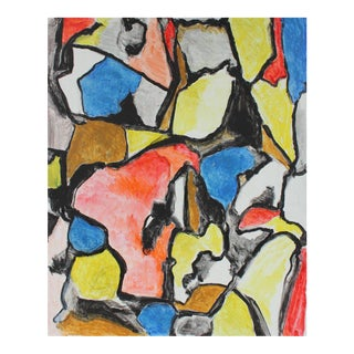 Gustav Friedmann Abstract Expressionist Painting in Primary Colors, Mid 20th Century For Sale