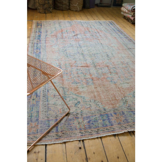 "1960s Vintage Distressed Oushak Carpet - 6'2"" X 9'8"" For Sale - Image 5 of 13"