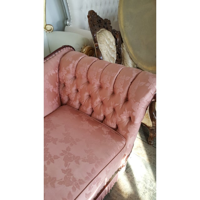 Antique Victorian Pink Loveseat Sofa - Image 4 of 6