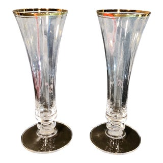 Vintage Mikasa Jamestown Clear Gold Rimmed Crystal Vases - a Pair For Sale