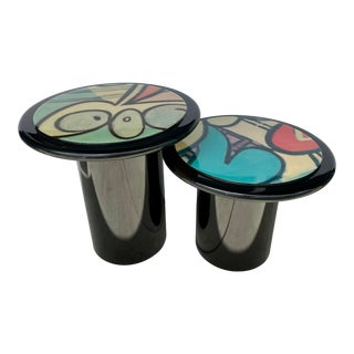 Set of 2 Painted Side Tables From 80s For Sale