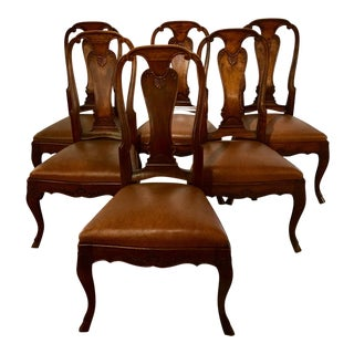 Queen Anne Period Dining Chairs Set of 6 For Sale