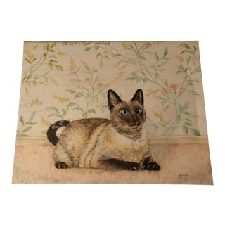 House Cat Original Colored Pencil Drawing of a Siamese Cat For Sale