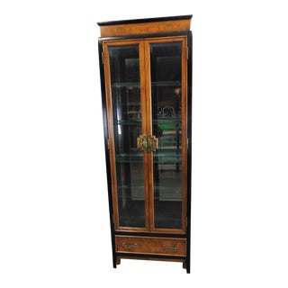 Century Chinoiserie Burl Black Lacquered Curio Cabinet For Sale