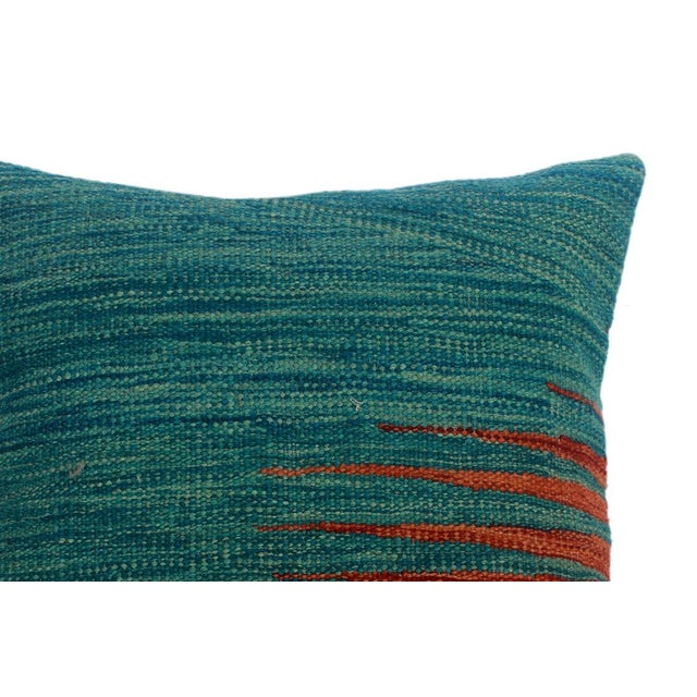 """Asian Devon Blue/Rust Hand-Woven Kilim Throw Pillow(18""""x18"""") For Sale - Image 3 of 6"""