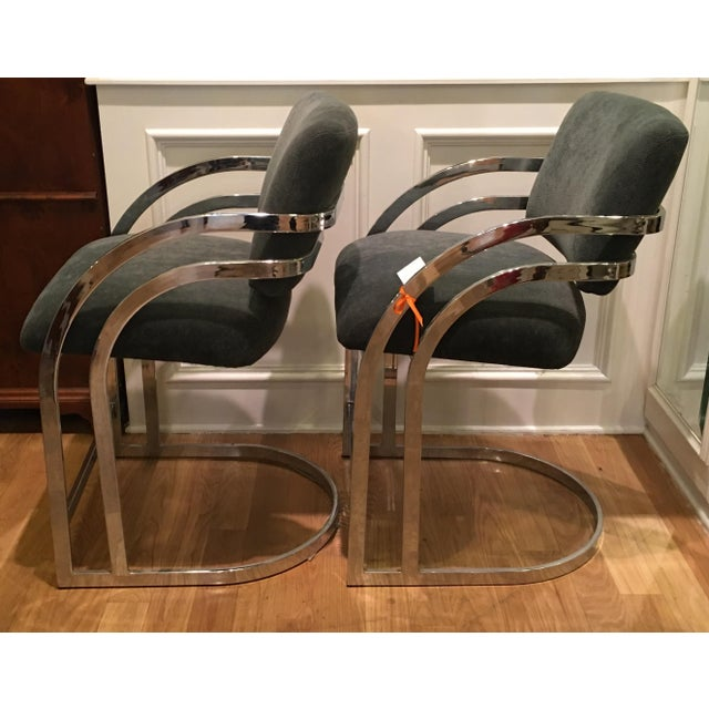 Mid-Century Milo Baughman Chrome Bar Stools - A Pair - Image 2 of 4