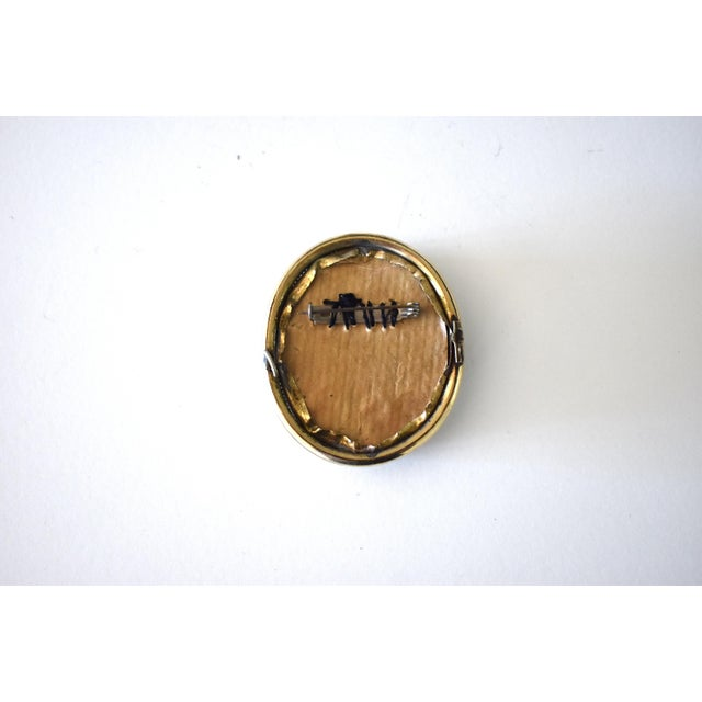 Metal Contemporary Lover's Eye Painting by S. Carson in a Victorian Brooch For Sale - Image 7 of 9