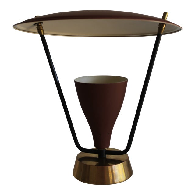 1950s Burgundy and Gold Saucer Reflector Lamp For Sale