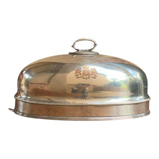Antique English Silver Plate Eagle Engraved Copper Turkey Meat Dome Food Cover For Sale