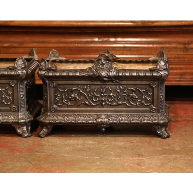 Late 19th Century 19th Century French Polished Iron Outdoor Jardinières With Raised Decors - a Pair For Sale - Image 5 of 11