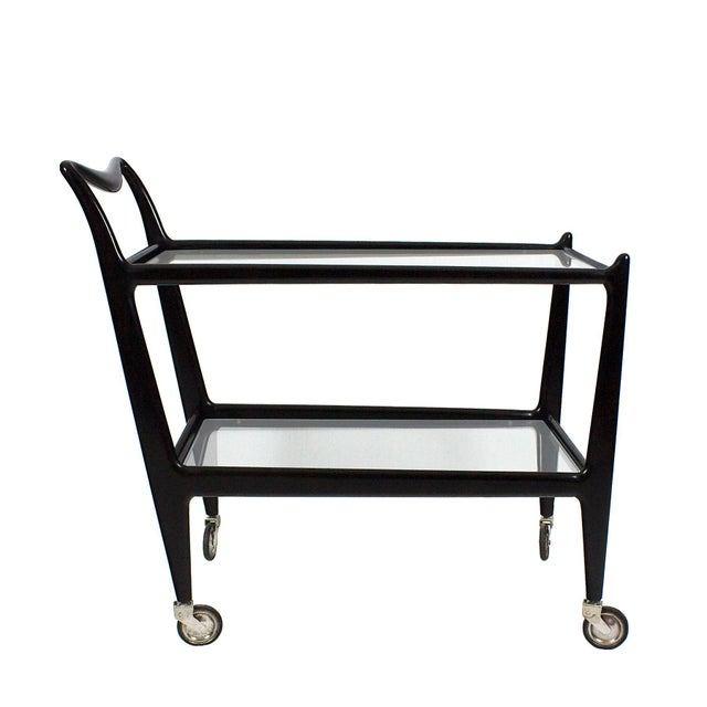 1950´s Two Levels Bar Cart by Ico Parisi, Stained Beech, Glass - Italy For Sale - Image 12 of 12