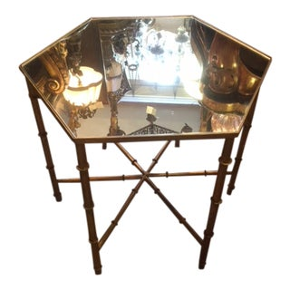 1970s Hollywood Regency Bamboo Octagonal Table For Sale