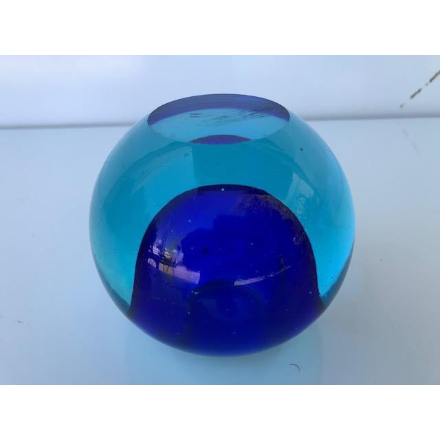 Flavio Poli Blue Glass Sommerso Paper Weight Attributed to Flavio Poli For Sale - Image 4 of 8