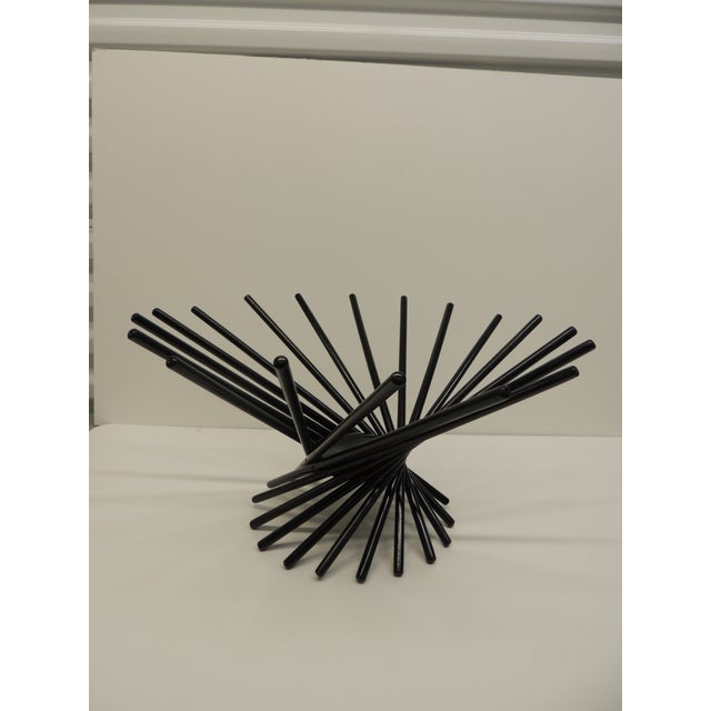 Mid Century Modern Folding Wood Black Fruit Basket For Sale - Image 5 of 5