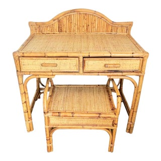 Vintage Bamboo & Rattan Vanity With Bench For Sale
