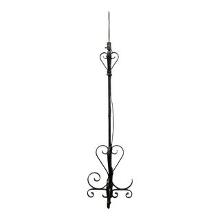 Restored Standing Wrought Iron Lamp For Sale