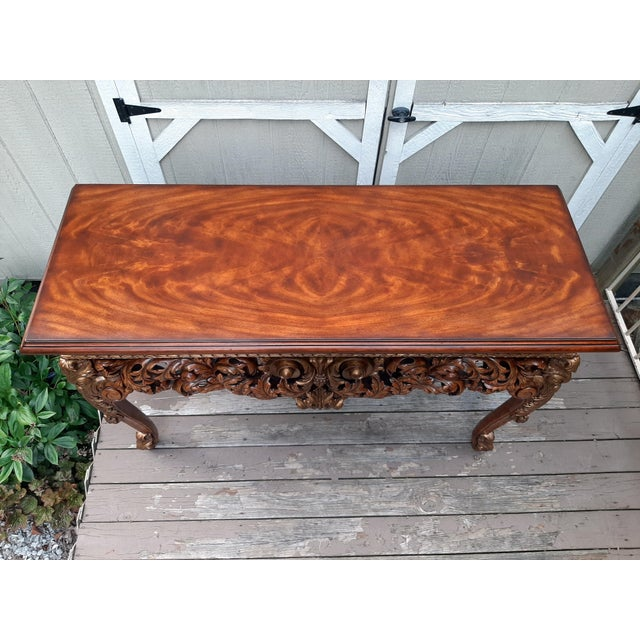 Brown Vintage Theodore Alexander Althorp Carved Wood Gilded Console Table For Sale - Image 8 of 13