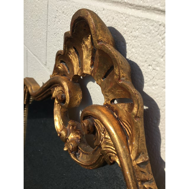 Italian Carved Wood Gilt Mirror For Sale - Image 4 of 12
