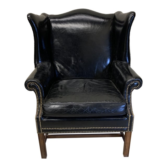 Black Leather Wing Chair For Sale