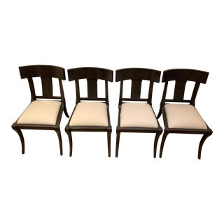Klismos Dark Gray Wood Off White Linen Cushions Dining Chairs - Set of 4 For Sale