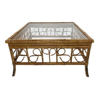 Chinioserie Rattan Coffee Table W Glass Top For Sale