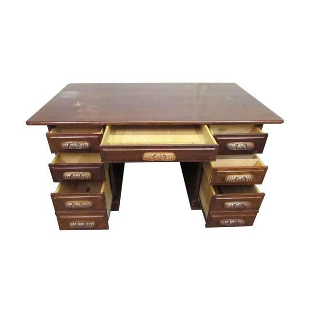 Antique Carved Handle Wooden Desk For Sale - Image 4 of 10 - Antique Carved Handle Wooden Desk Chairish